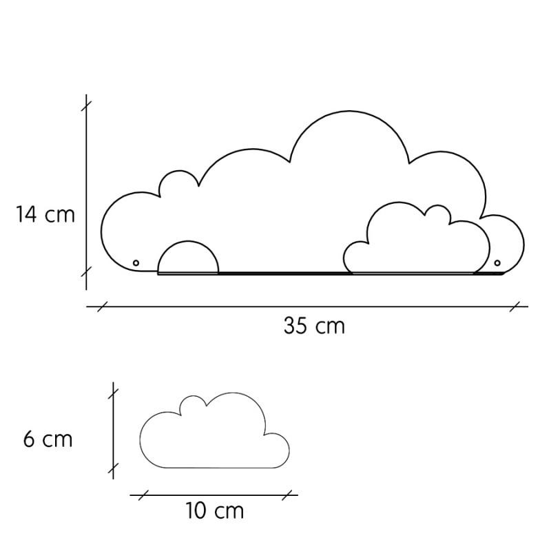 Kleines wandregal wolken grau 38 90 - Wandregal wolke ...