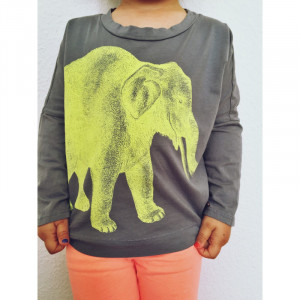 T-Shirt Lucky Fish, Elefant grau